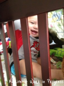 My helper! Confined to his crib due to excessive exuberance during the sharp pointy parts of the tutorial.
