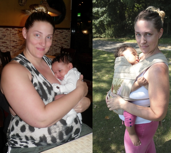 Before and After: Kelli at 6 weeks and then 11 months postpartum