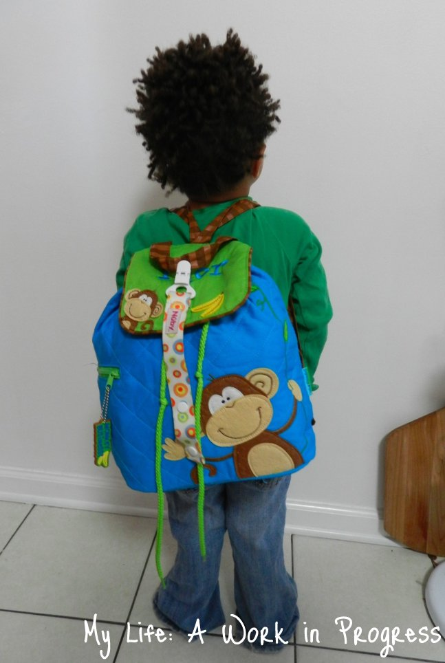 Toddler backpack on a 3-year old