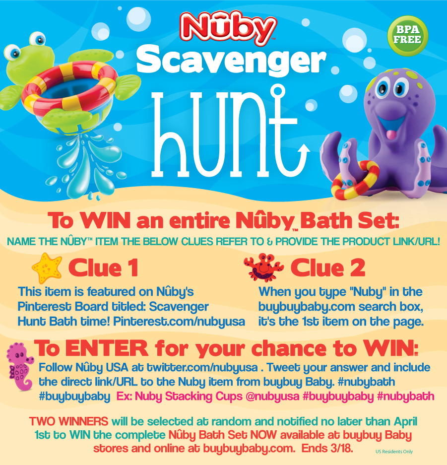 Nuby scavengerhunt bathset Win Nuby baby products!