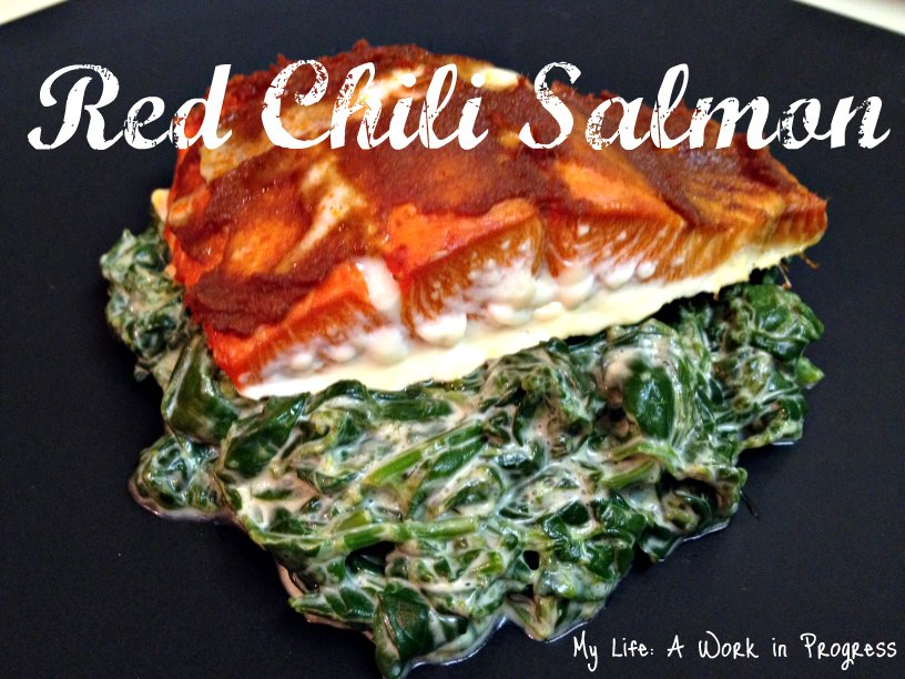 Red Chili Salmon and Coconut Creamed Spinach Red chili salmon on a bed of coconut creamed spinach