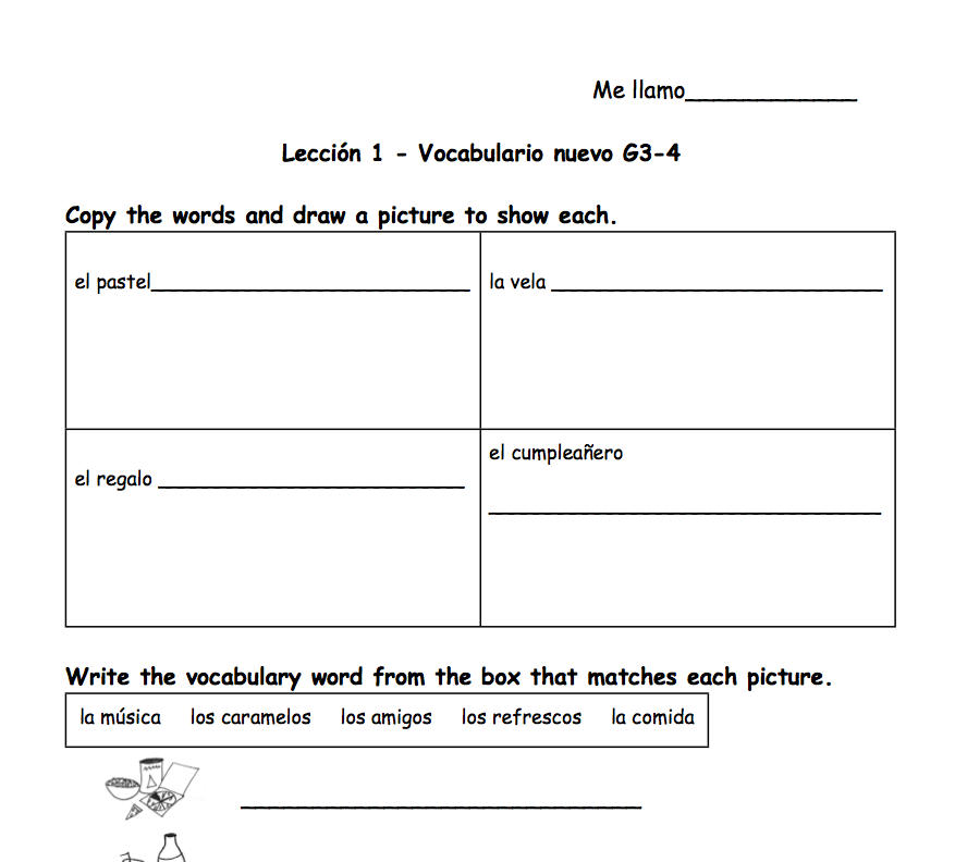 Spanish Worksheet grades 3-4