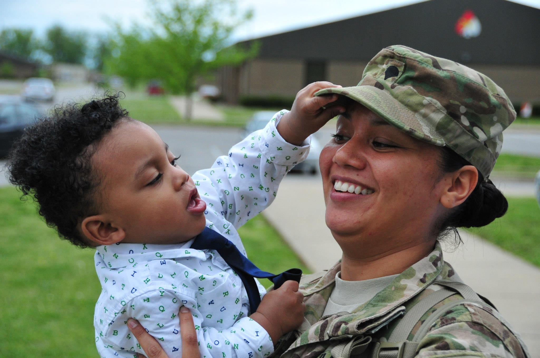 Spc. Yring Richardson, a human resource specialist with 4th Brigade Special Troops Battalion, 4th Brigade Combat Team, 101 ABN DIV, 101st Airborne Division (Air Assault), shares a cheerful moment with her son during family time, April 28, 2013, prior to deploying from U.S. Army Fort Campbell, Ky. Richardson is deployed to Afghanistan in support of Operation Enduring Freedom. (U.S. Army photo by Kimberly K. Menzies, 4th BCT Public Affairs)