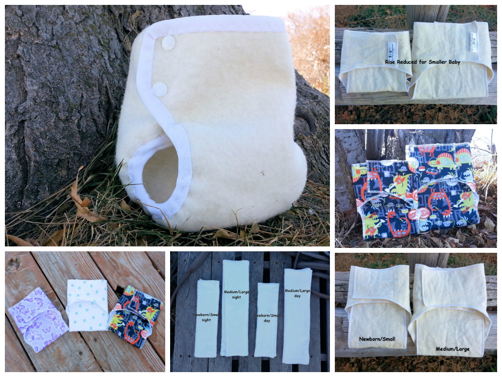 Pocket contour diaper, inserts, and wool cover from Rustic Spark