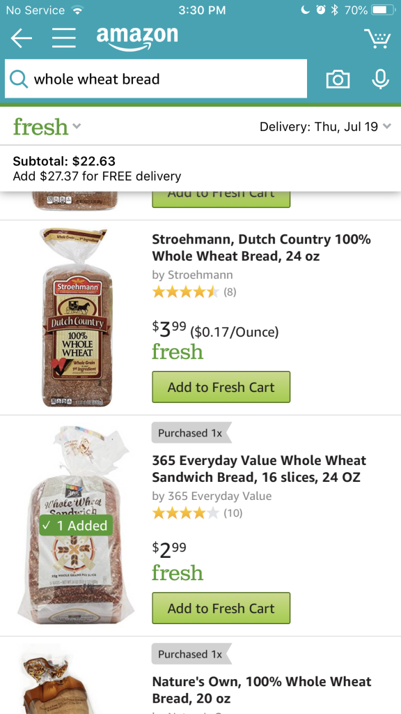 Amazon Fresh grocery delivery service unsponsored review